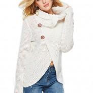 Pull en tricot de laine à col haut irrégulier à manches longues pour femmes uniques