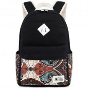 Fresh Totem Print Simple Floral Elephant Nose Large High School Bag Canvas Backpack