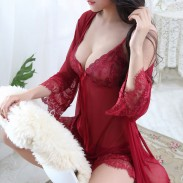 Sexy Lace Bow Nightdress Robe Mesh Sling Pajamas Women's Lingerie