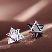 Boucles d'oreille de personnalité uniques en zircon d'argent avec double triangle