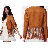 Soft Suede Tassel Hem Buttonless Short Punk Style Coat