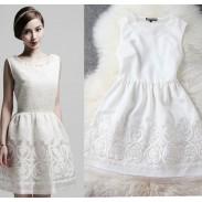 Nouveau Mode Noir et blanc Ourlet brodé Robe de soirée & Robe