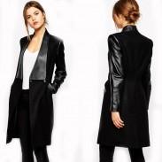 Manteau moulant slim fit à manches longues en cuir PU pour femmes