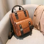 Sac à dos en PU souple rétro multi-fonctions brun style britannique école sac à dos