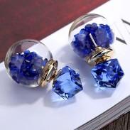 Cristal coloré bulle transparente boule femmes boucles d'oreilles goujons