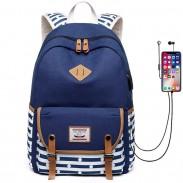Rayure fraîche Sac d'école USB Interface Grand sac à dos en toile avec deux boucles