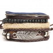 Alliage rétro multicouche perle en bois ange aile plume tissé perlé bracelet de cire