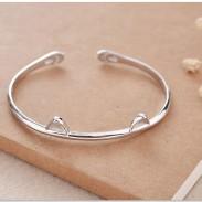 Oreille de chat mignon argent ouvert bracelet amant bijoux présents chaton pied femmes bracelet