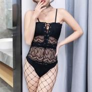Sexy Bandage Perspective Creuse Conjoint en Dentelle Noire Minceur Femmes Lingerie Intime