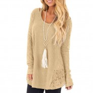 Leisure Hollow Lace Splice Round Neck Long Sleeve Women's Sweater