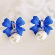 Boucles d'oreilles douces fraîches bowknot Perle