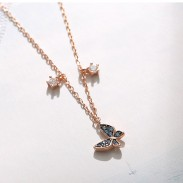 Cadeau d'amant mignon cadeau étudiant présent collier pour femmes papillon bleu pendentif argent collier en or rose