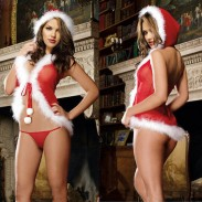Sexy en peluche chapeau une pièce rouge noël femmes lingerie