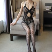 Sexy Bow Flower Intime Net Stock Lace Conjoined Lingerie Femme