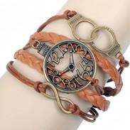 Bracelet infini menottes horloge rétro