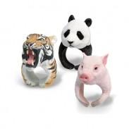 Super Mignon PVC 3D Animal En forme de Tigre Panda Polaire Ours Hérisson Bague