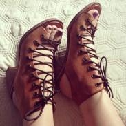 vintage été épais avec des sandales romaines bandage chaussures à talons en cuir