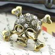 Punk Roche faux diamant Crâne Ouverture Bague