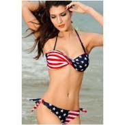 New Nice American Flag Halter Bikini Swimsuit