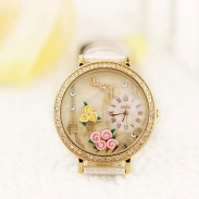 Paris Tower Flower rhinestone retro watch