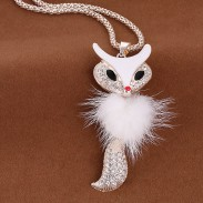 Briller strass Fox en peluche à long pull collier