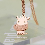 Mignon Petit Bovins Animal Givré Or Collier