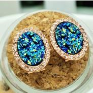 Carré Coquille diamant Fête Boucles d'oreilles