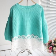 Lace Hem Line Puff Sleeve Sweater