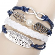 Charmant Aile d'ange Croyez Infini Bracelet