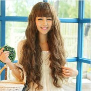 Sweet Natural Wavy Bangs Long Hair Wigs