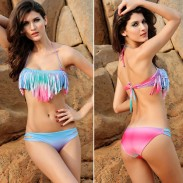 Hot Sexy Colorful Gradient Tassel Bikini