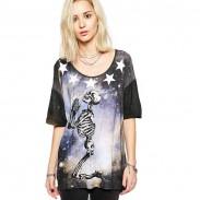 Punk style Personnalité Brillant Etoile Crâne Squelette Imprimé T-shirt