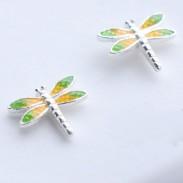Libellule vif jaune ailes vertes argent boucles d'oreilles animal fille goujons