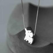 Éléphant mignon pendentif cadeau animal unique collier animal en argent