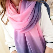 Lady Gradient Color Shawl Scarf Dual Long Handmade Palpus Scarf