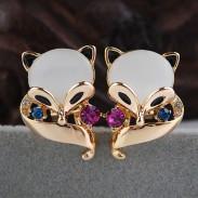 Charmant Renard Animal Opale Studs Boucles d'oreilles Bijoux