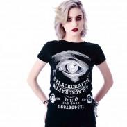 Élégant Créatif Œil alphanumérique Impression Noir T-shirt
