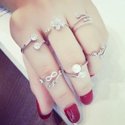Cute Love Heart Leaf Flower Fox Pearl Women Accessories Open Rings