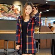 New Lace Sleeve Long Lattice Overcoat Hoodie Warm Women Sweater Tops Coat