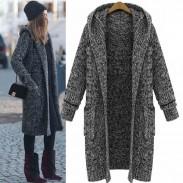 Hooded Lapel Knit Long Cardigan Sweater Coat