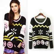 Smile Face Long Sleeve Loose Slim Sweater
