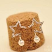 Fashion Girl's - Pendentif boucle d'oreille en argent avec perles de diamant à bordure évidée - Femmes