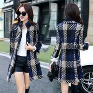Fashion Winter Overcoat Lattice Weaving Stand Collar Gird Wool Bodycon Coat Jacket