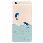 Couple Dauphin Transparent Mince Doux Silice Gel Iphone Cas Pour 5 / 5S / 6 / 6Plus