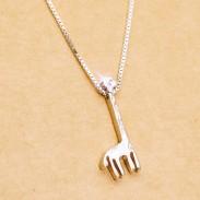 Mignonne argent Girafe Pendentif Sucré Filles Cadeau Clavicule Chaîne Animal Ajustable Colliers