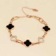 Black And White Diamond Clover Rose Gold Bracelets