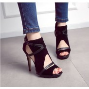 New Bandage Hollow Roman Sandals Fine With Waterproof High-heeled Shoes For wonman