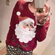 Snowflakes Santa Embroidery Christmas Sweater
