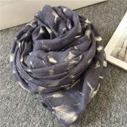 Vintage Feather Printed Voile Infinity Scarf