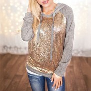 Veste à capuche pour dames de la mode féminine paillettes épissage T-shirt Casual Pulls